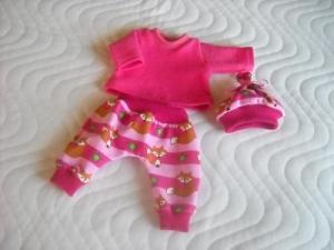 Handgemachtes 3 tlg. Set Hose, Shirt & Mütze für Puppen mit Fuchs Motiv ca.36-38 cm  - Handarbeit kaufen