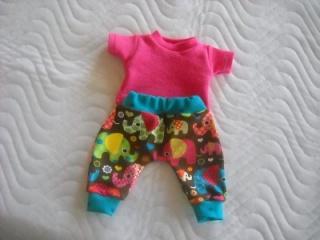 Handgemachtes Set Pumphose & Shirt für Puppen mit Elefanten Motiv ca. 46-48 cm  - Handarbeit kaufen