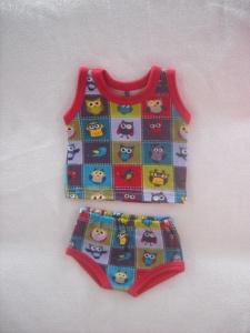 Handgemachte Puppenkleidung Unterwäsche Hemd & Slip mit Eulen Motiv ca. 43 cm   - Handarbeit kaufen