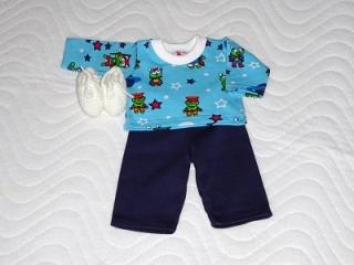 Handgemachtes Schlafanzug Set Hose, Oberteil & Bettschuhe für Puppen ca. 43cm   - Handarbeit kaufen