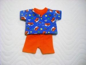 Handgemachtes Set Radlerhose & Shirt für Puppen Baumwolljersey, Fuchs  ca. 26-27 cm   - Handarbeit kaufen