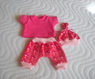 3 tlg. Puppenkleider Set Hose Shirt & Mütze Baumwolljersey  ca. 26-27 cm   - Handarbeit kaufen