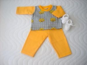 Handgemachtes Kleider Set Schlafanzug & Bettschuhe für Puppen ca. 46-48 cm - Handarbeit kaufen