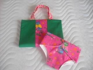 Handgemachte Puppen Windeltasche Wickeltasche aus Baumwolle - Handarbeit kaufen