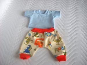 2 tlg. Puppenkleider Set Puppen Pumphose & Shirt Dino ca. 43cm  - Handarbeit kaufen