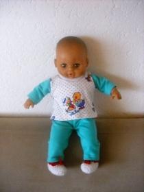 3 tlg. Puppenkleider Set Schlafanzug & Bettschuhe ca.36-38 cm   - Handarbeit kaufen