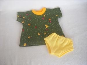 Puppen Jersey Sommerkleid mit Slip grün/gelb ca. 32-33 cm   - Handarbeit kaufen
