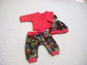 3 tlg. Puppenkleider Set Hose Shirt & Mütze, Eulen Motiv  ca. 26-27 cm   - Handarbeit kaufen