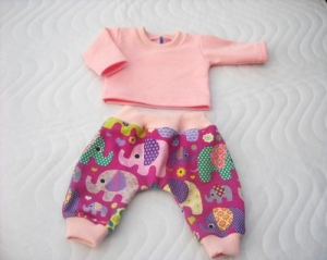 Handgemachtes Kleider Set Pumphose & Shirt für Puppen Elefant ca. 46-48 cm  - Handarbeit kaufen