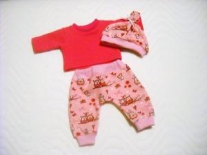 Handgemachtes Puppenkleider Set Pumphose Shirt und Mütze ca. 32-33 cm