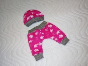Handgemachtes Puppenkleider Set Pumphose und Mütze ca. 32-33 cm