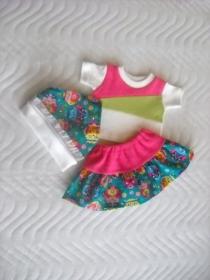 3 tlg. Puppenkleider Set Rock, Shirt und Kopftuch Eulen für Weichkörper Puppen ca. 46-48cm  - Handarbeit kaufen