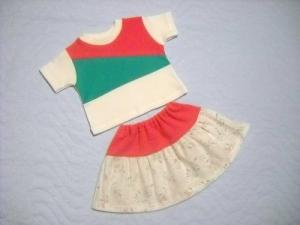 2 tlg. Puppenkleider Set Rock und Shirt Handgemacht für Weichkörper Puppen  ca. 46-48cm  - Handarbeit kaufen