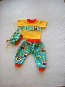 3 tlg. Puppenkleidung Set Pumphose Shirt Mütze Eule Weichkörper Puppen ca. 46-48 cm    - Handarbeit kaufen