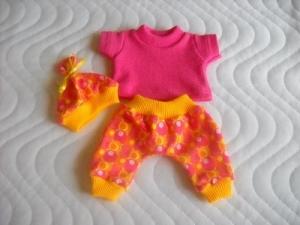 3 tlg. Puppenkleider Set Hose, Shirt & Mütze Baumwolljersey  ca. 26-27 cm  - Handarbeit kaufen