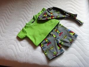 4 tlg. Puppenkleider Set 2 Puppenhosen kurz und lang, Bandana und Shirt Jungs ca. 43cm - Handarbeit kaufen