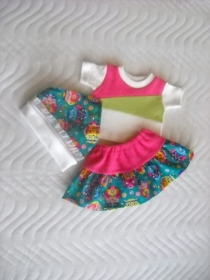 3 tlg. Puppenkleider Set Rock, Kopftuch & Shirt Eulen 43 cm  - Handarbeit kaufen