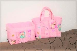 ( M) 2 in 1 Kindertasche/Utensilo, Handgemacht,  Baumwolle, rosa Eulen von KaPuMo   - Handarbeit kaufen