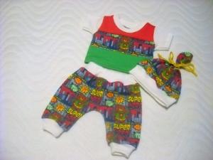 3 tlg. Puppenkleidung Set Pumphose Shirt Mütze Eule 46-48 cm   - Handarbeit kaufen