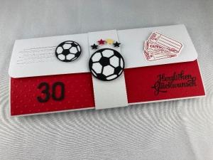 Geschenkverpackung für Fußball-Tickets rot-weiß mit Zahl - Handarbeit kaufen