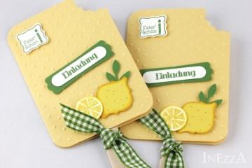 Einladungskarten Eis am Stiel Zitrone 4-er Set für den Kindergeburtstag mit echtem Holzstiel