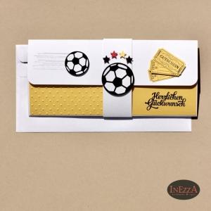 Geschenkverpackung für Fußball-Tickets gelb-weiß Einladung Gutschein - Handarbeit kaufen