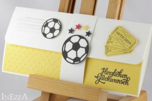 Geschenkverpackung für Fußball-Tickets gelb-weiß