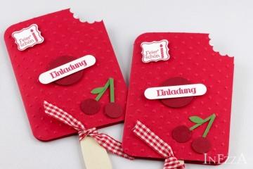 Einladungskarten Eis am Stiel 4-er Set Kirsche mit echtem Holzstiel für Kindergeburtstag