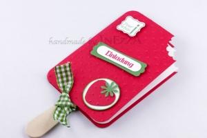 Einladungskarten 4-er Set Eis am Stiel Erdbeere für den Kindergeburtstag mit echtem Holzstiel