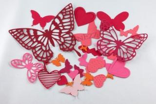 30 Stanzteile Schmetterlinge Herzen Farb-Mix rot-orange-rosa Farbkarton - Handarbeit kaufen