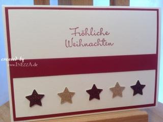 Weihnachtsgrußkarte modern ☆ Fröhliche Weihnachten ☆ rot weiss - Handarbeit kaufen