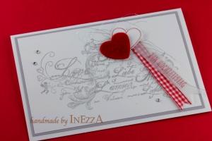 Grußkarte zum Hochzeitstag Handarbeit in Rot Weiß Silbern Silberne Hochzeit - Handarbeit kaufen