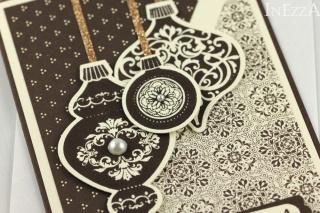 Weihnachtskarte nostalgisch mit Weihnachtskugeln ☆ Weihnachtsgrüße ☆ Weiß Braun Golden