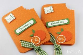 Einladungskarten Eis am Stiel Orange 4-er Set für Kindergeburtstag mit echtem Holzstiel