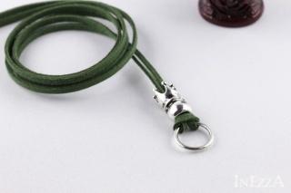 VELOURBasisband Grün mit Krone und Ring für Wechselanhänger Charmkette