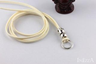 VELOURBasisband Cremefarben mit Krone und Ring für Wechselanhänger Charmkette