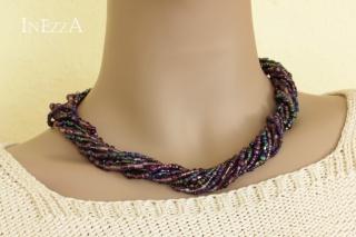 Halskette Collier lila violett Glasperlen Statementkette - Handarbeit kaufen