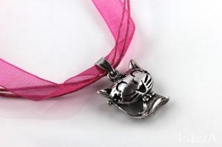 Halskette Organza Katze pink rosa silberfarben Oktoberfestschmuck - Handarbeit kaufen