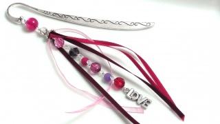 Lesezeichen für Leseratten LOVE rosa lila pink Handarbeit - Handarbeit kaufen