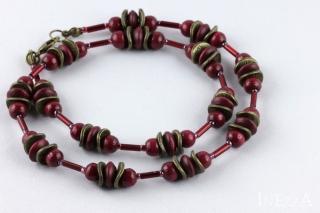 Perlenkette weinrot und bronzefarben mit Holzperlen - Handarbeit kaufen