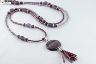 Lange Kette mit Quaste großer Scheibenperle in lila violett amethystfarben fliederfarben - Handarbeit kaufen