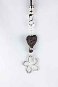 Anhänger mit Lava-Herz und Blume in braun silbern für Wechselkette Handarbeit