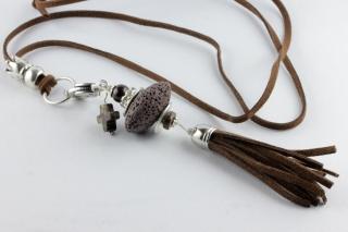 Anhänger mit Lava-Perle Quaste und Kreuz braun silbern für Wechselkette Handarbeit