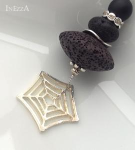 Lange Kette mit Lavaperle Rondell mit Spinnennetz schwarz Wechselkette Handarbeit