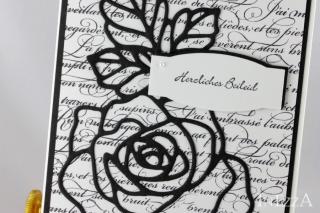 Trauerkarte Beileidskarte Kondolenz mit schwarzer Rose Handarbeit