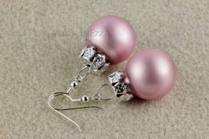 Ohrringe Weihnachtskugeln ☆ rosa rose matt silbern ☆ zur Weihnachtsfeier