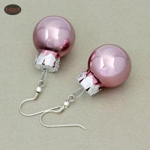 Ohrringe Weihnachtskugeln ☆ pink glänzend silbern ☆ Adventskalenderfüllung - Handarbeit kaufen