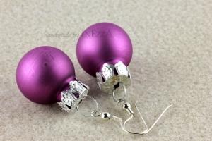 Weihnachtliche Ohrringe Weihnachtskugeln ☆ lila matt silbern lustig ☆ Adventskalenderfüllung