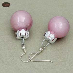 Ohrringe Weihnachtskugeln ☆ rosa rose glänzend silbern Adventskalenderfüllung - Handarbeit kaufen