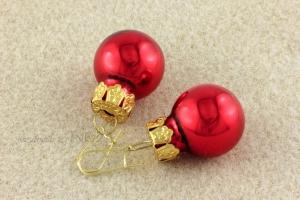 Ohrringe Weihnachtskugeln für die Weihnachtsfeier ☆ rot glänzend golden lustig ☆